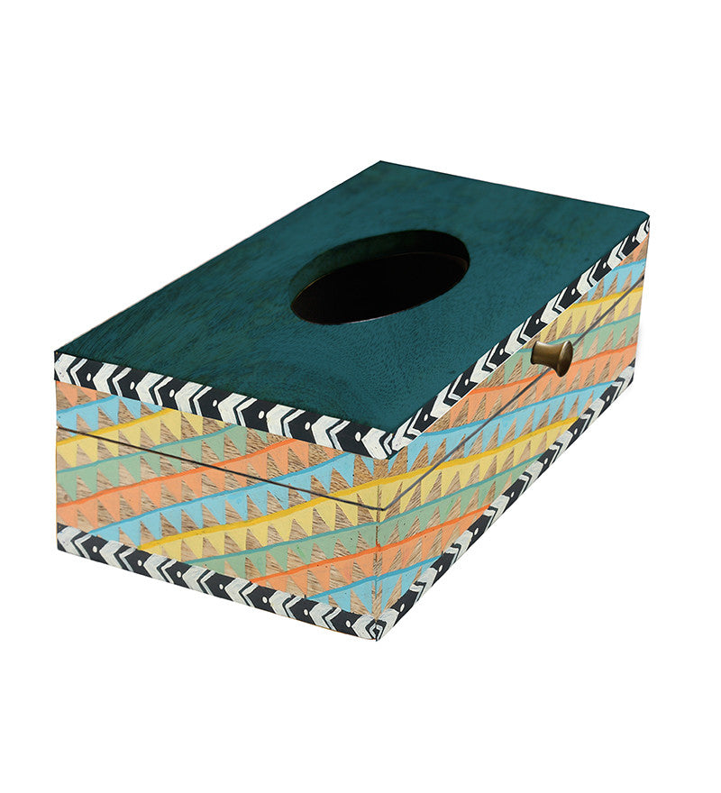 Handcrafted Earthy Patterns Mangowood Tissue Box