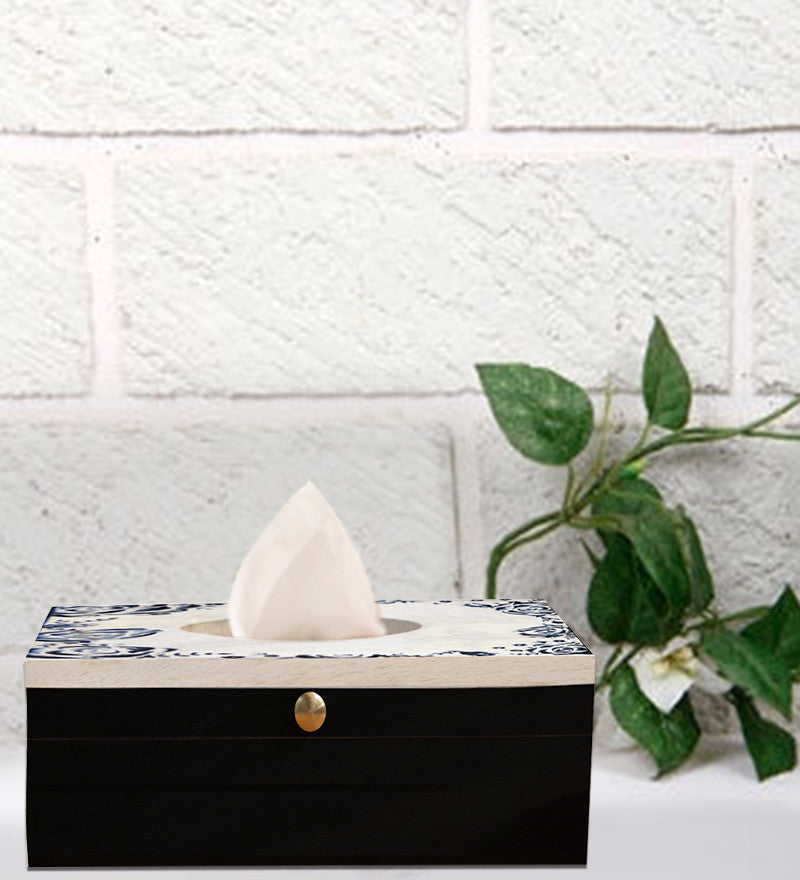 Handcrafted Black Rose Mangowood Tissue Box