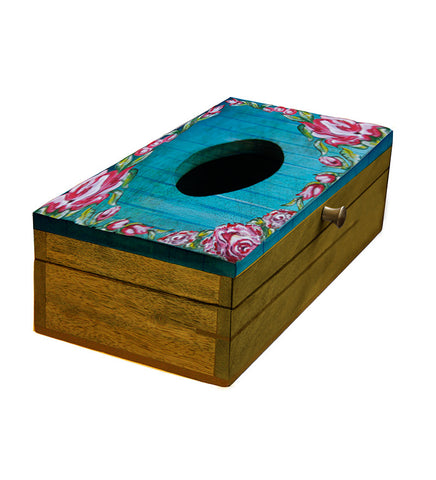 Handcrafted Turquise Rose Mangowood Tissue Box