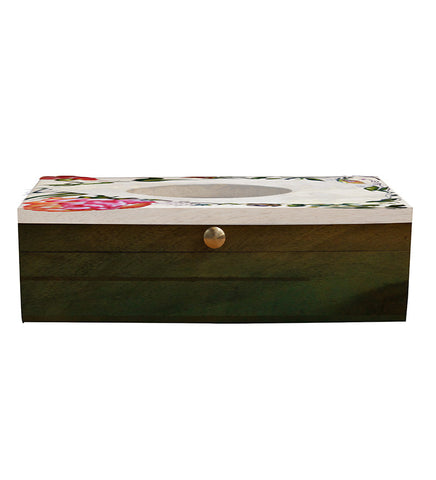 Handcrafted Floral Classics Mangowood Tissue Box
