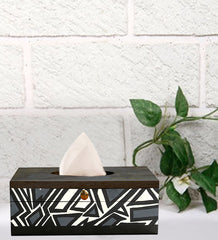 Handcrafted Monochrome Magic Mangowood Tissue Box