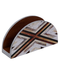 Handcrafted Semi Circle Mosaic Magic Wooden Tissue Holder