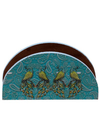 Handcrafted Semi Circle Pleasing Peacocks Wooden Tissue Holder
