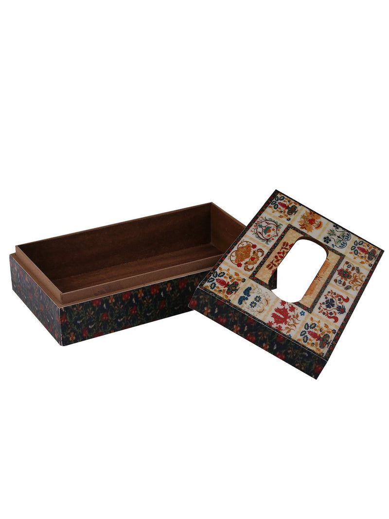 Handcrafted Mughal Magic Wooden Tissue Holder Box