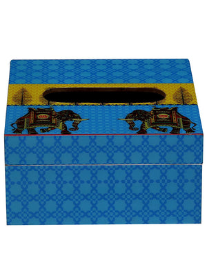 Handcrafted Turquoise Elephant Wooden Tissue Holder Box