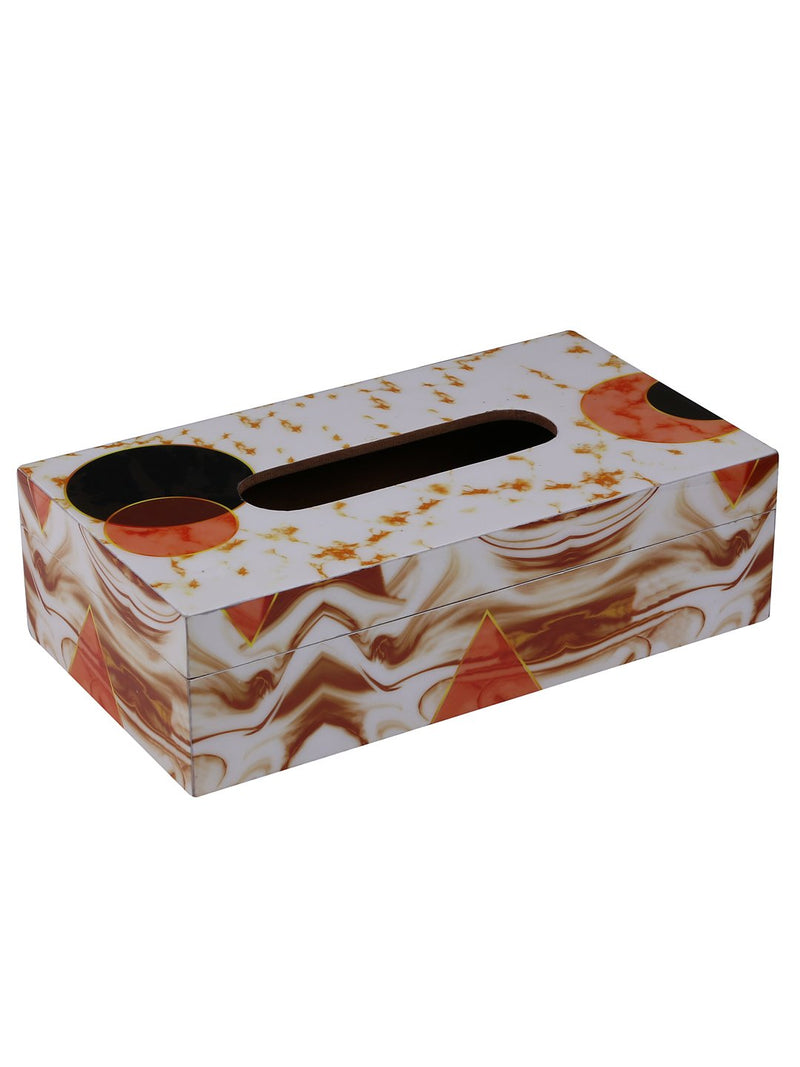 Handcrafted Marble Magic Wooden Tissue Holder Box