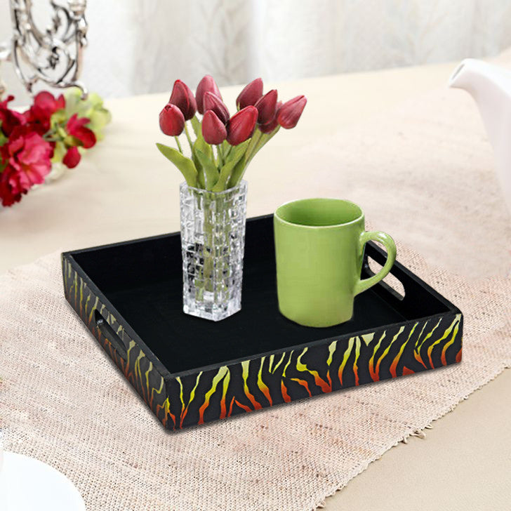 Handcrafted, Bonfire Brown Square Serving Tray