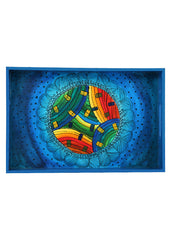 Hand-painted Mandana With Waves Exotic Tray - RANGRAGE