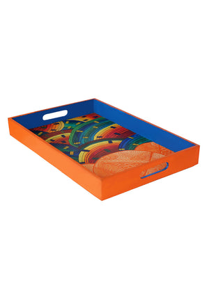 Hand-painted Mandana With Waves Grand Tray - RANGRAGE
