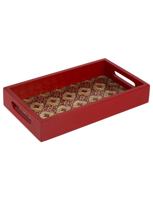 Handcrafted Meenakari Wooden Brass Serving Tray