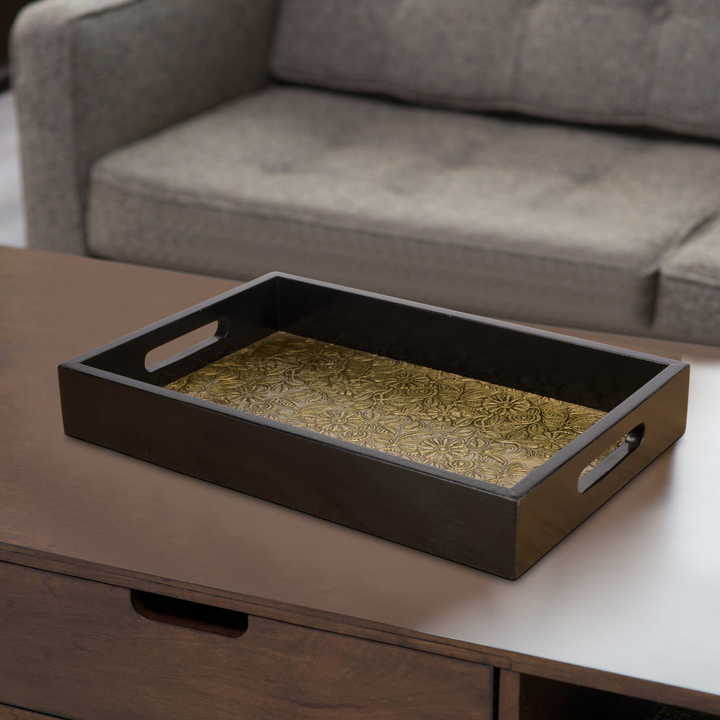 Handcrafted Wooden Brass Serving Tray