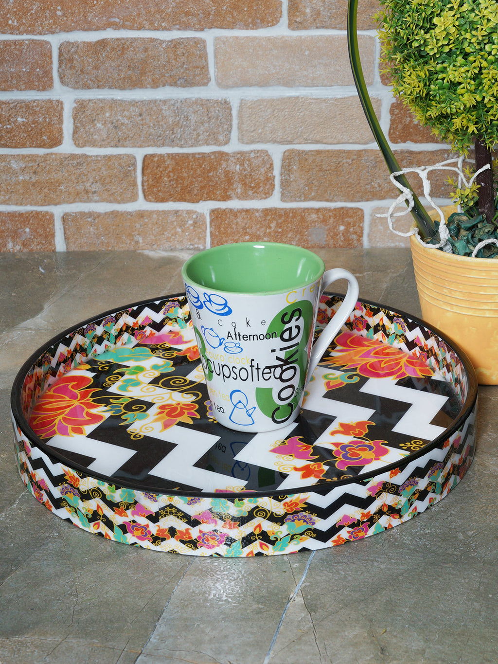 Handcrafted Contemporary Floral Serving Tray