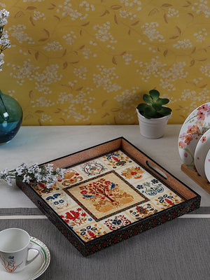 Handcrafted Mughal Magic Square Wooden Tray