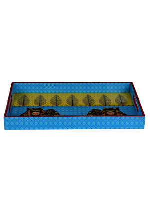 Handcrafted Turquoise Elephant Rectangular Wooden Tray