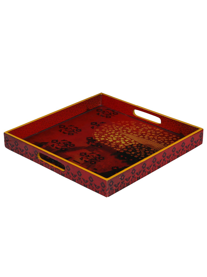 Handcrafted Floral Mughal Square Wooden Tray