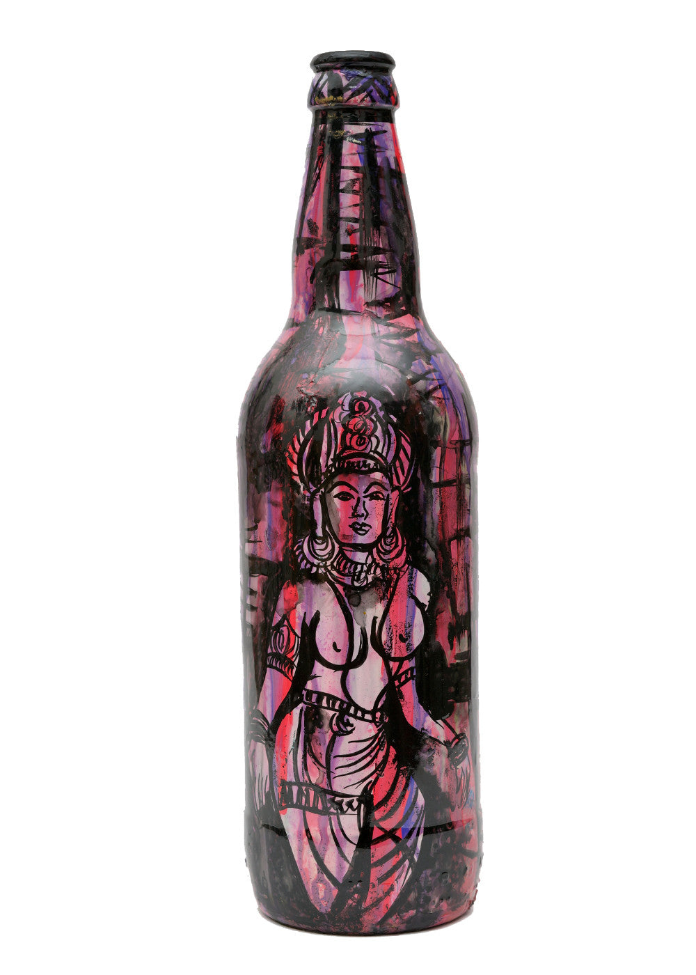 Hand-painted Pink Ajanta Decorative Bottle - RANGRAGE