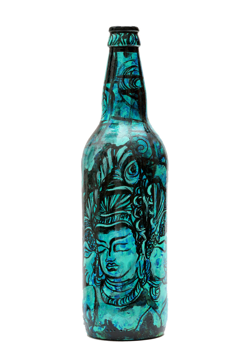 Hand-painted Blue Ajanta Decorative Bottle - RANGRAGE