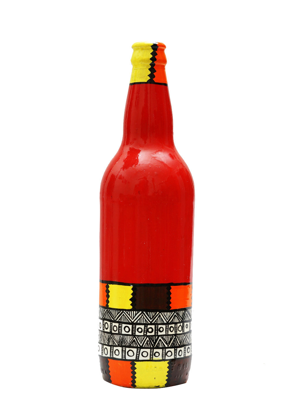 Hand-painted Red Bottom Warli Twist Decorative Bottle - RANGRAGE
