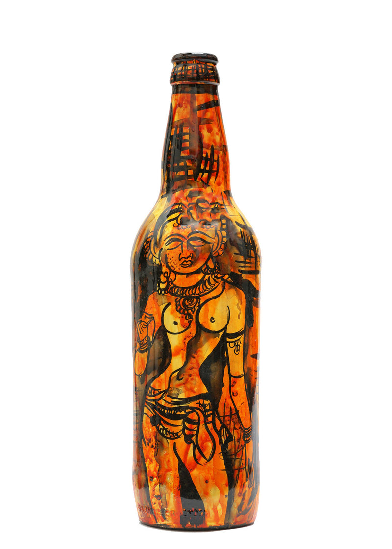 Hand-painted Brown Ajanta Decorative Bottle - RANGRAGE