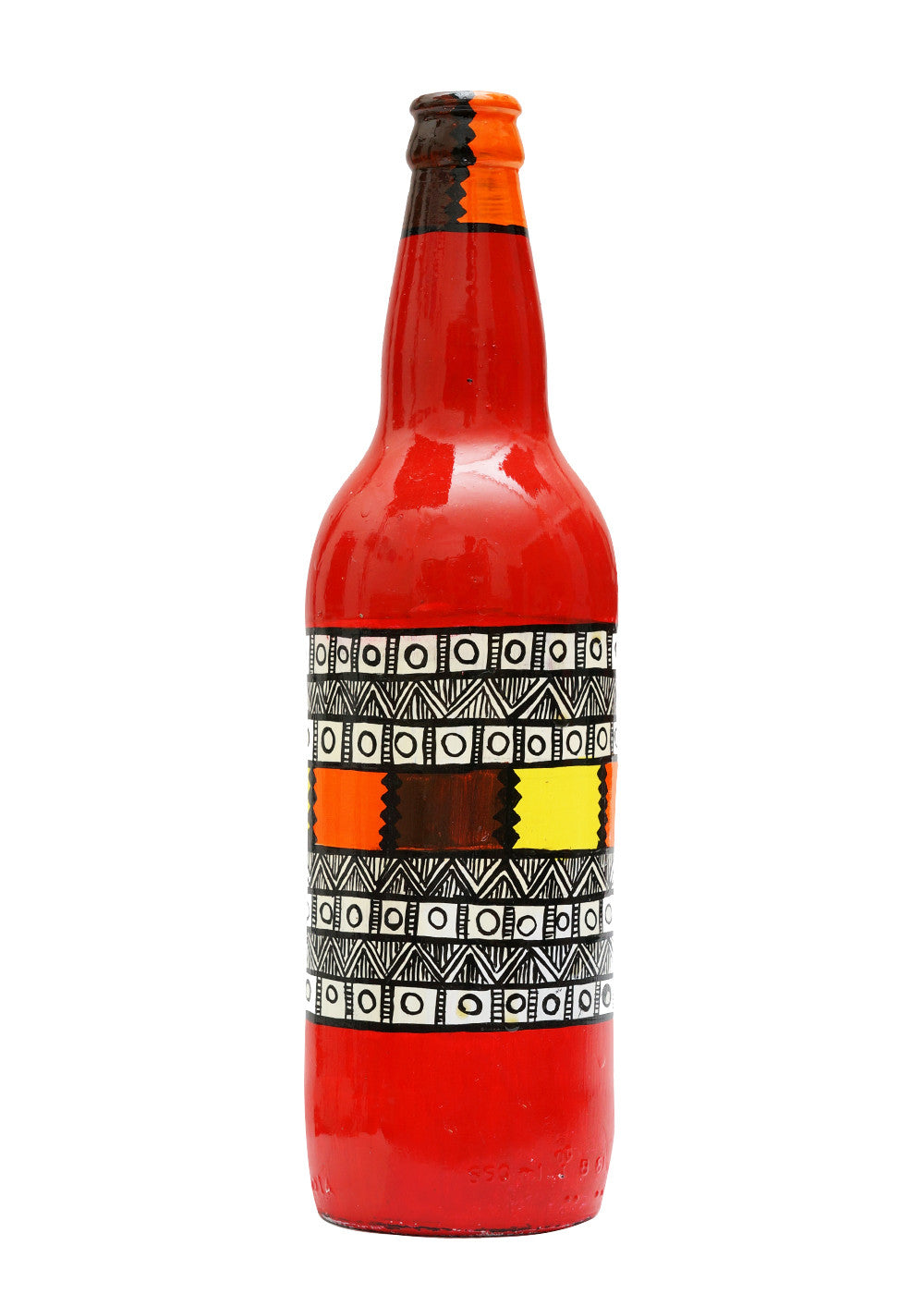 Hand-painted Red Center Warli Twist Decorative Bottle - RANGRAGE