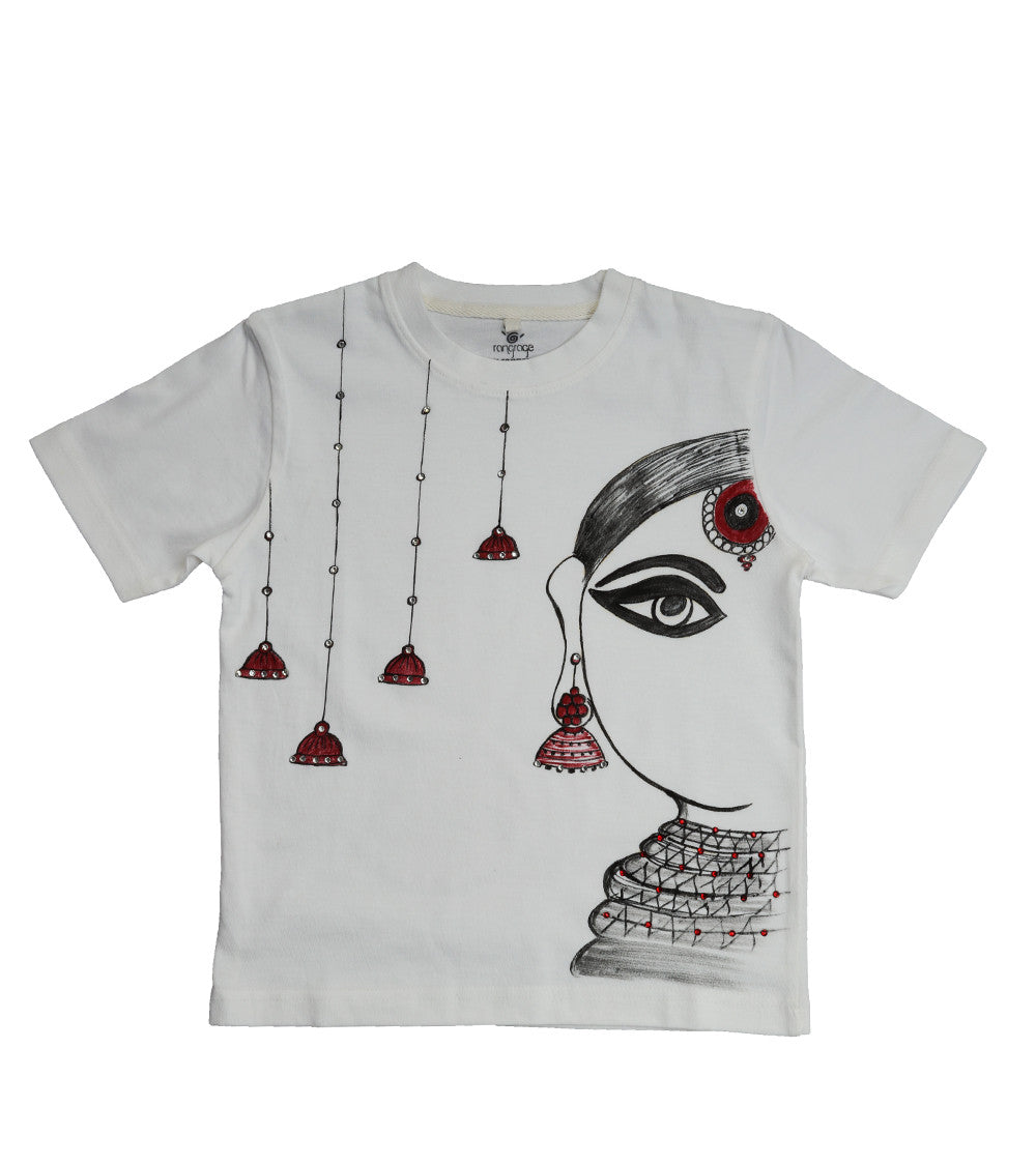 Hand-painted Jhumka Girl with Bells T-shirt - Rang Rage  - 1
