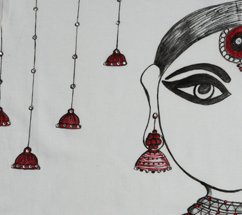 Hand-painted Jhumka Girl with Bells T-shirt