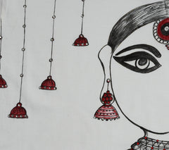 Hand-painted Jhumka Girl with Bells T-shirt - Rang Rage  - 2