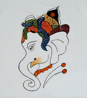 Hand-painted  Baal Ganesha T-shirt - RANGRAGE  - 2