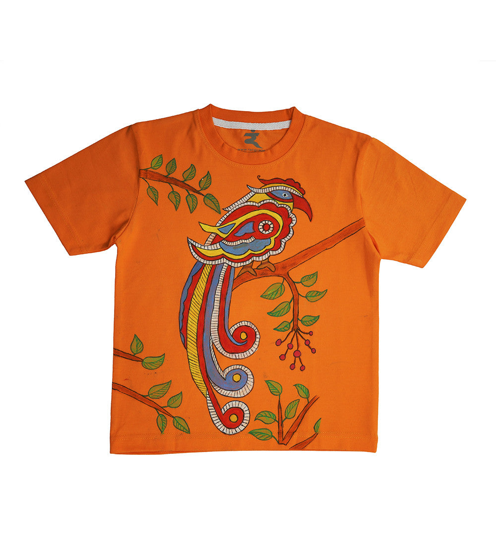 Hand-painted Madhubani Bird T-shirt - Rang Rage  - 1