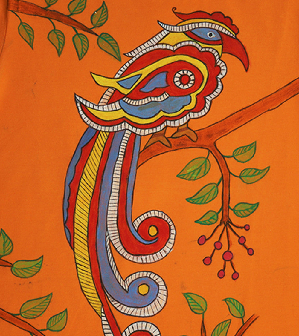 Hand-painted Madhubani Bird T-shirt - RANGRAGE  - 2