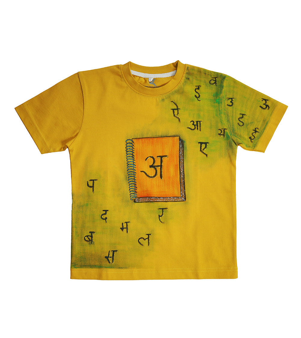 Hand-painted Hindi Akshar T-shirt - Rang Rage  - 1