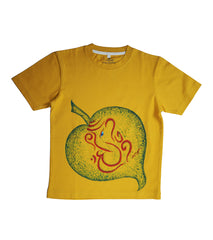 Hand-painted Ganesha In Leaf T-shirt - Rang Rage  - 1