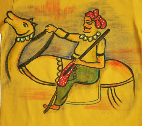 Hand-painted Puppet on Camel T-shirt