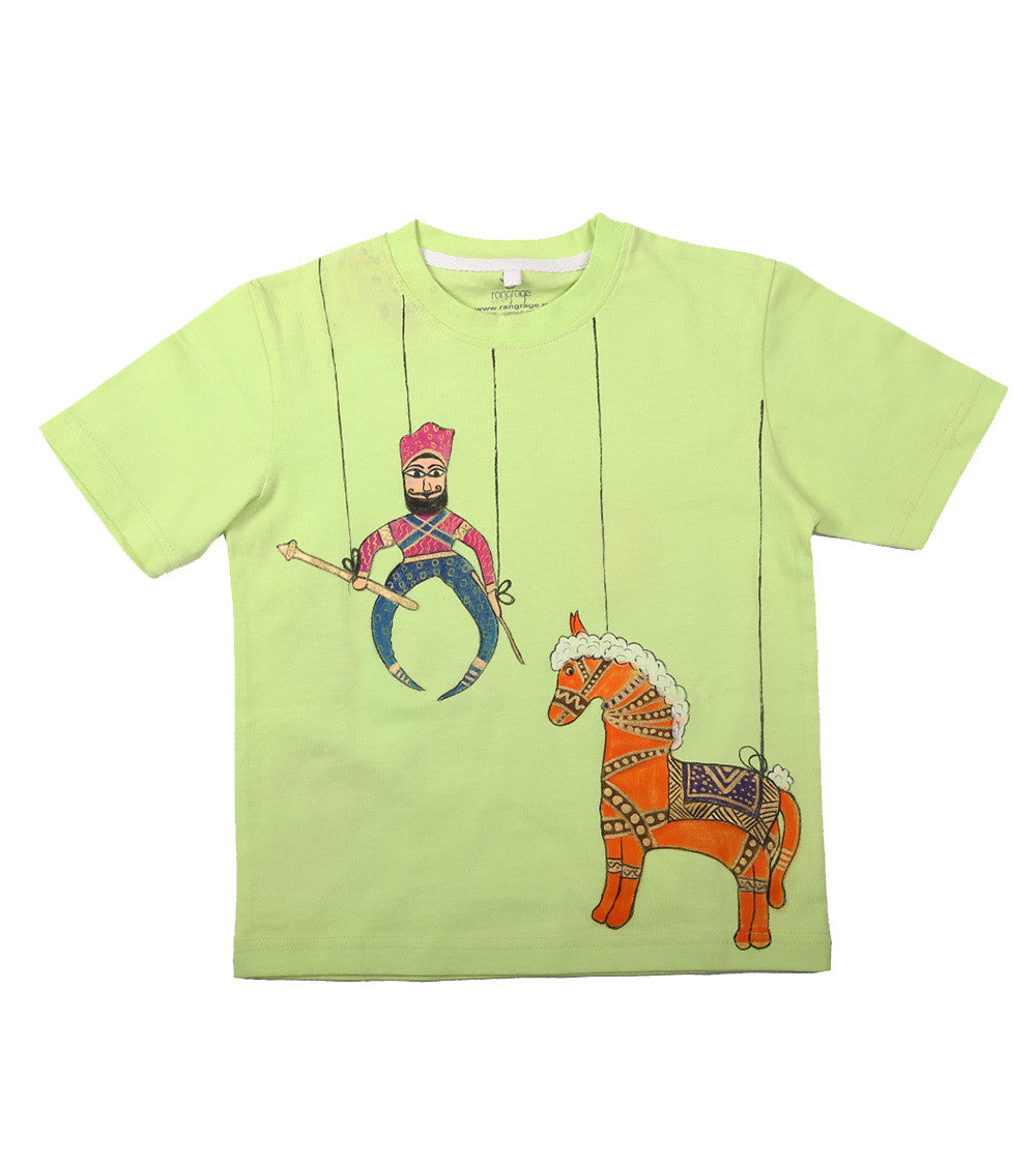Hand-painted Puppet & Horse T-shirt - Rang Rage  - 1
