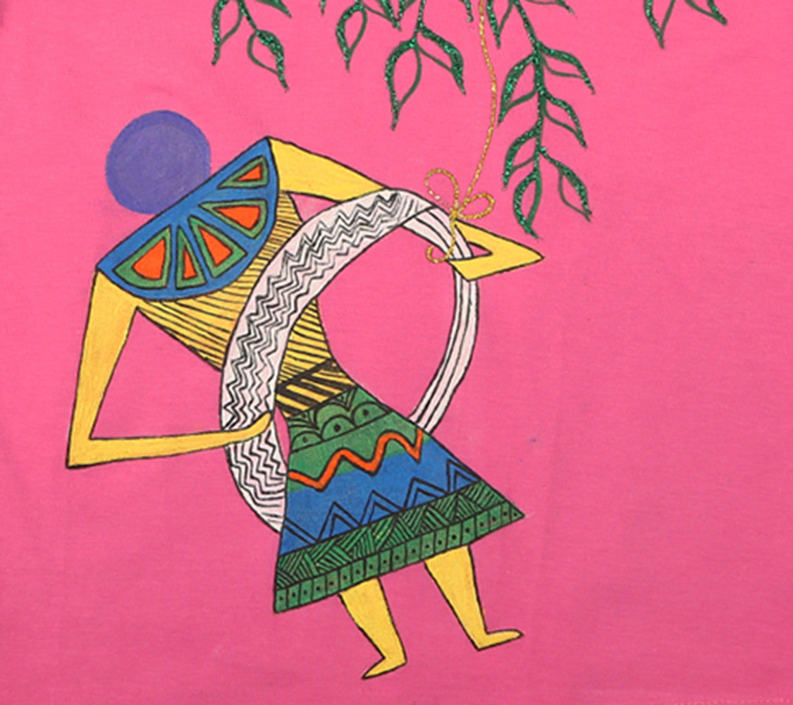 Hand-painted Warli on Swing T-shirt - Rang Rage  - 2