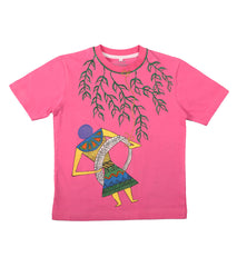 Hand-painted Warli on Swing T-shirt - Rang Rage  - 1