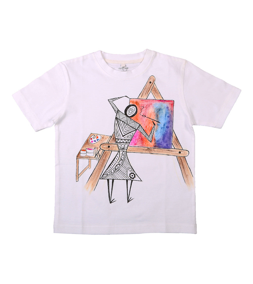 Hand-painted Warli Painter T-shirt - Rang Rage  - 1