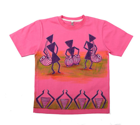 Hand-painted Warli Drummers T-shirt