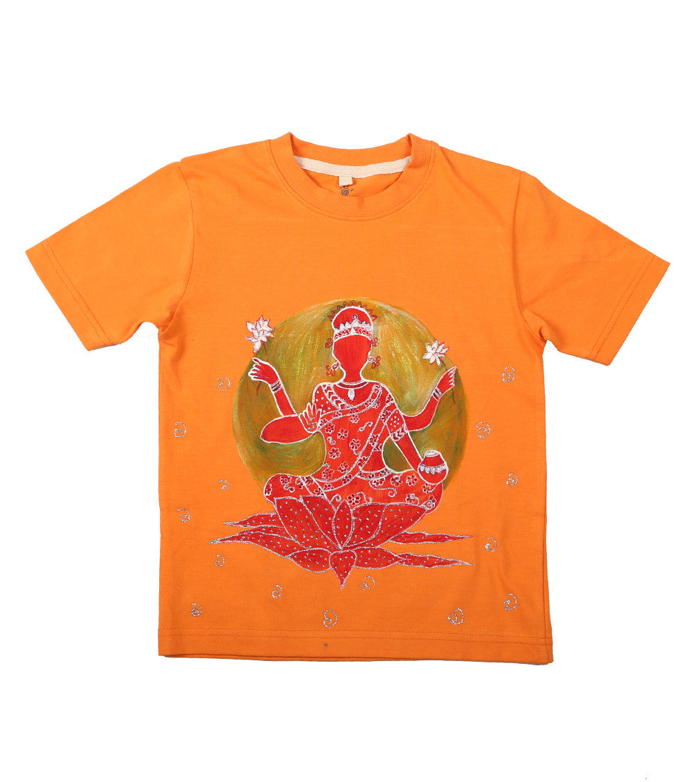 Hand-painted Laxmi Goddess T-shirt - RANGRAGE  - 1