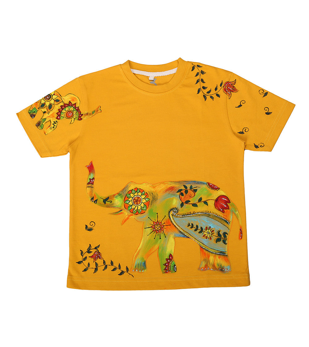 Hand-painted Floral Elephant T-shirt - RANGRAGE  - 1