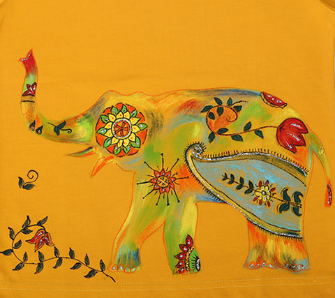 Hand-painted Floral Elephant T-shirt