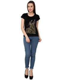Hand-painted Mehendi Peacock Black T-shirt - RANGRAGE  - 4