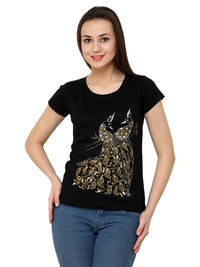 Hand-painted Mehendi Peacock Black T-shirt - RANGRAGE  - 1