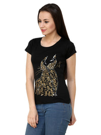 Hand-painted Mehendi Peacock Black T-shirt - RANGRAGE  - 3