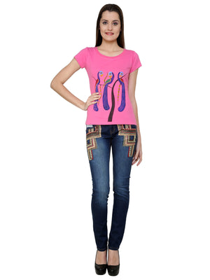 Hand-painted Peacock Trio Pink T-shirt - RANGRAGE  - 4
