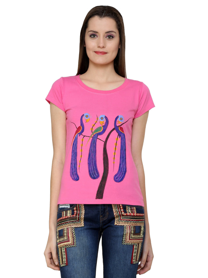 Hand-painted Peacock Trio Pink T-shirt - RANGRAGE  - 1