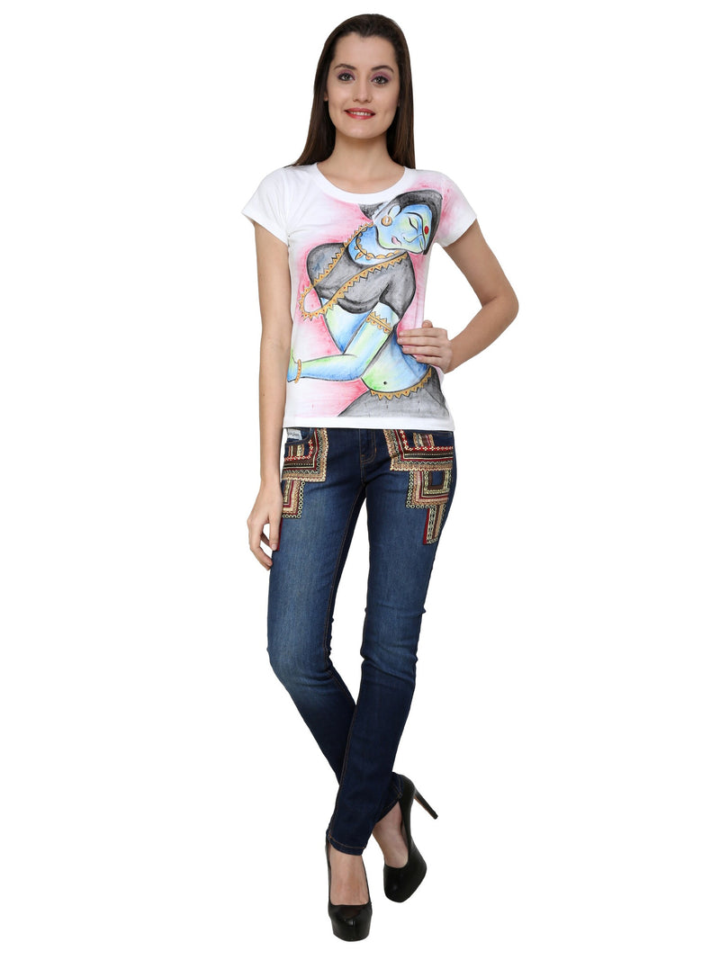Hand-painted Indian Lady T-shirt - RANGRAGE  - 4