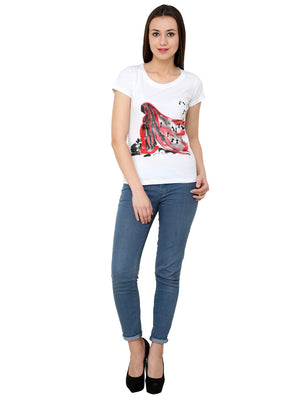 Hand-painted  Red Lady with Warli T-shirt - RANGRAGE  - 4