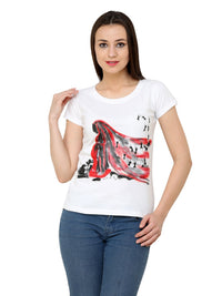 Hand-painted  Red Lady with Warli T-shirt - RANGRAGE  - 1
