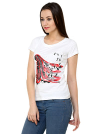 Hand-painted  Red Lady with Warli T-shirt - RANGRAGE  - 3